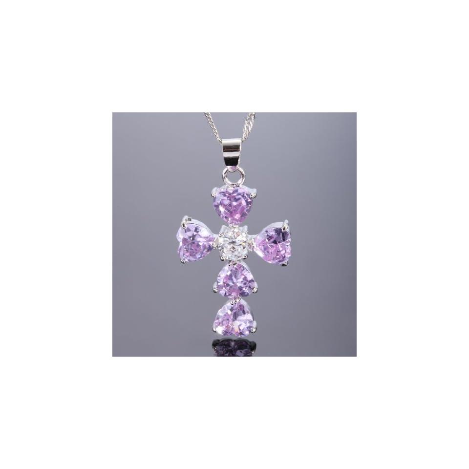 Lady Fashion Jewelry GIFT Tanzanite Heart Cut White Gold Tone Pendant Necklaces