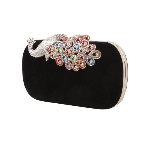 BMC Womens Elegant Rhinestone Peacock Clasp Velvet Cocktail Evening Handbag-BLACK