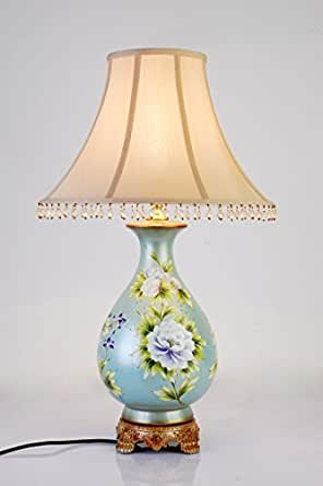 Crf Light Blue Painting Ceramic Table Lamp Bedroom