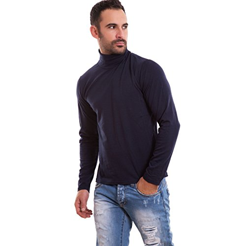 Lupetto uomo maglia manica lunga dolcevita felpato collo alto nuovo M1256A [M,blu]
