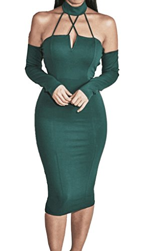 ALAIX Womens Strapless Halter And Matching Sleevelets Bodycon Bandage Dresses Green-L