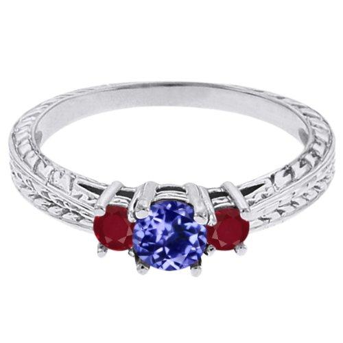 0.58 Ct Round Blue Tanzanite Red Ruby 18K White Gold 3-Stone Ring