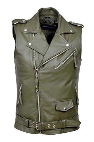 Mens-Brando-Khaki-Motorcycle-Biker-Steam-Punk-Real-Hide-Leather-Waistcoat-1025