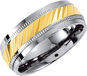 8 mm Titanium Diamond Cut Gold IP Comfort Fit Band Size 9.5