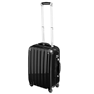 TecTake polycarbonate suitcase trolley set 4 wheels 3 super lightweight rolling hardshell suitcase travel bags luggage black from TecTake