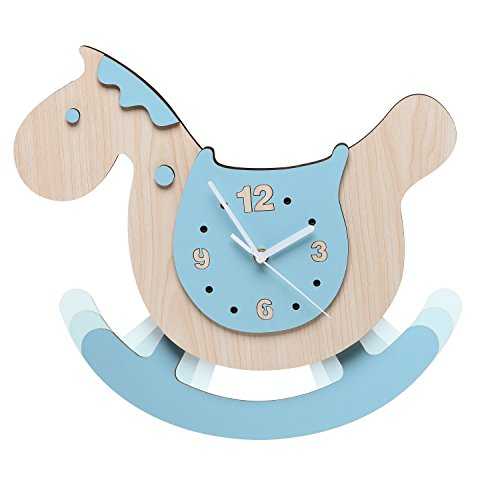 Rocking Horse Design Children's Wall Mounted Wooden Analog Clock & Room Decor