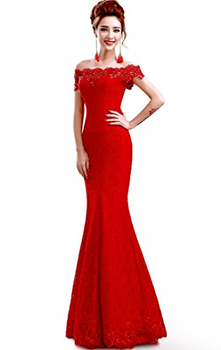 Babyonline2016-off-shoulder-lace-red-Mermaid-Evening-Formal-Bridesmaid-dress
