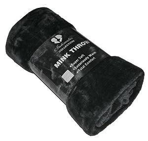 Mink - Manta de piel de imitación en color negro 150x200, tamaño grande para sofá de dos asientos o cama de Dreamscene