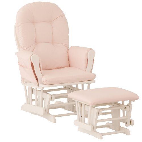 Lowest Price! Stork Craft Hoop Glider and Ottoman, White/Pink