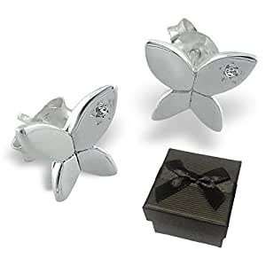 925 Sterling Silver Small Butterfly Ear Studs With CZ Stones Clear Cubic Zirconia 10x8mm