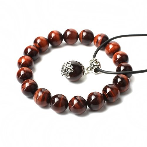 O-stone Wishing Bead Natural Red Tiger Eye with Tibetan Silver Pendant Necklace + Natural Red Tiger Eye Bracelet 10mm Grounding Stone Protection