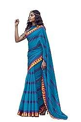 AASRI Women Blue Cotton Blend Printed Work Saree