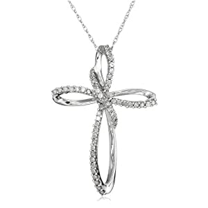 10k White Gold Diamond Cross Pendant
