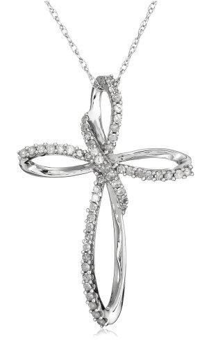 10k White Gold Diamond Cross Pendant (1/5 cttw, I-J Color, I3 Clarity)