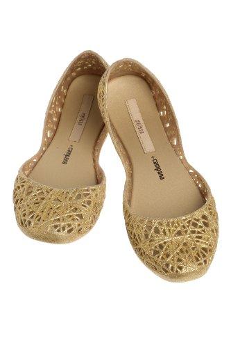 Melissa Campana Women's Zigzag Ballerina Flat,Gold Glitter,8 M US