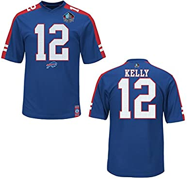 "Jim Kelly Buffalo Bills Majestic NFL ""HOF Hashmark"" Jersey Shirt"
