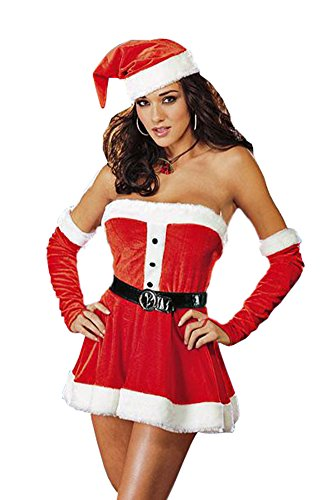 Prettycostume Ladies Sexy Santa Dress Lingerie Sweetie Christmas Costume