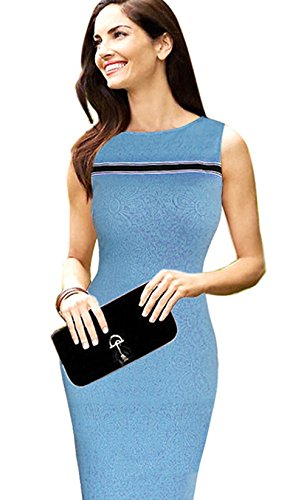 Merope J Womens Sleeveless Solid Color Midi Offices Bodycon Dress (M, Blue)