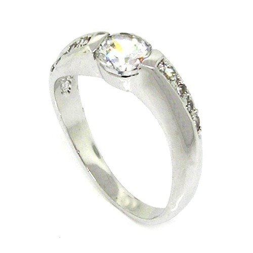 Classic Sterling Silver Promise Ring w/Round Brilliant White CZ, 7