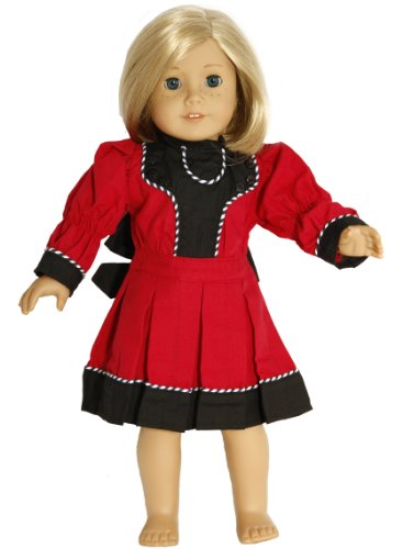 BUYS BY BELLA Victorian Red Dress for 18 Inch Dolls Like American Girl