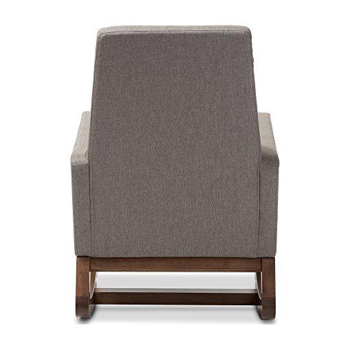 Baxton Studio Yashiya Mid Century Retro Modern Fabric Upholstered Rocking Chair, Grey 3