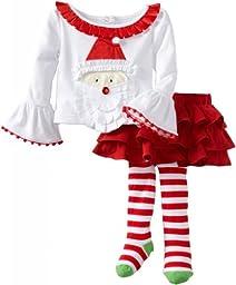 Mud Pie Baby Girls\' Santa Ribbon Skirt Set, Multi Colored, 0 6 Months