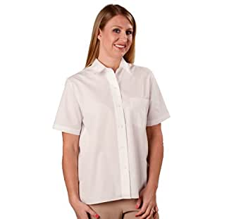 Plus size short sleeve white blouse car interior design for Wrinkle free dress shirts amazon