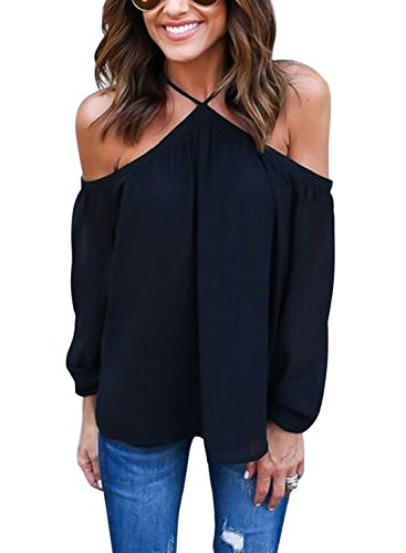 wllw-women-chiffon-off-shoulder-long-sleeve-halter-neck-shirt-blouse-topsblackus-m
