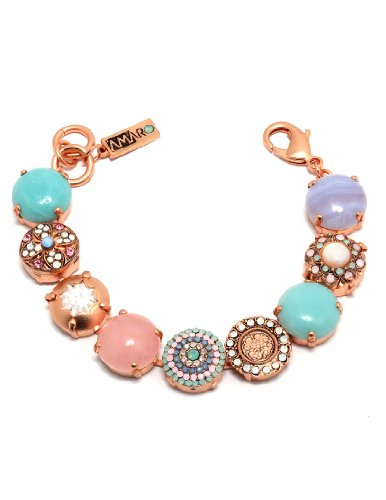 24K Rose Gold Plated Bracelet from 'Flow' Collection by Israeli Amaro Jewelry Studio Set with Amazonite, Blue Lace Agate, Mother of Pearl, Pink Quartz, Swarovski Crystals