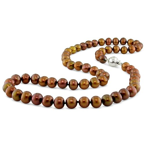 7-7.5 mm Brown Freshwater Pearl Necklace in Silver, 18