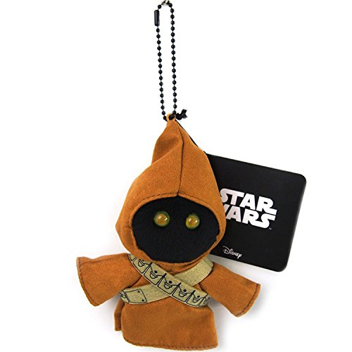Japan Disney Official Star Wars the Force Awakens - Jawa Brown Head Mascot Soft Plush Stuffed Toys Cushion Doll Plushie Ball Key Chain Strap Charm String Phone Ring Holder Accessory Takara Tomy Arts