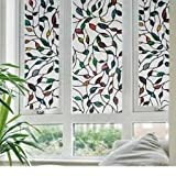 Static Window Films Cane Leaves 3 Meters PVC Films Glass Sticker Non-glue Fork Art Glass Poster