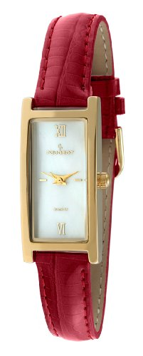 peugeot-womens-14k-gold-plated-mother-of-pearl-roman-numeral-face-glossy-red-leather-thin-skinny-str