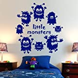 Little Monsters Boys Mural Wall Art Sticker - Art Vinyl Decal Stickers, Childrens Bedroom, Bathroom, Kitchen, Lounge, Easy to Apply, Free Applicator, Easy Peel - (PLEASE CHOOSE YOUR SIZE & COLOUR USING DROP DOWN MENU) - by Rubybloom Designs