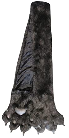 Furry Plush Faux Fur Animal Scarf w Paws and Claws - Choose from 8 Designs! (Black Bear)