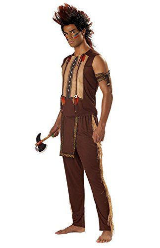 [Mememall Fashion Native American Indian Noble Warrior Chief Men Costume] (Male Indian Chief Costume)