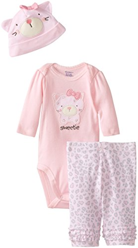 Gerber Baby-Girls Newborn 3 Piece Long Sleeve Bodysuit Legging And Cap, Leopard Kitty, New Born