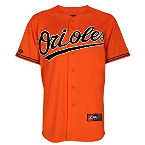 MLB Mens Baltimore Orioles Adam Jones Orange Short Sleeve 6 Button Synthetic Replica... by Majestic