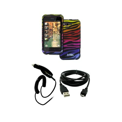 EMPIRE HTC Rhyme Black with Multi Color Zebra Stripes Rubberized Design Hard Case Cover + Car Charger (CLA) + USB Data Cable [EMPIRE Packaging]