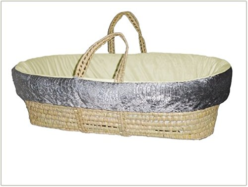 Baby Doll Croco Minky Moses Basket, Grey/Beige