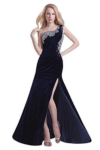 GEORGE BRIDE Velvet One-spalla Split-Side con posteriore sexy vestito,nero,48