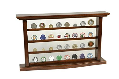 Casino Chip Display Case - Cabinet Holder Shadow Box - Solid Mahogany (Golf Poker Chip Display Case compare prices)