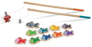 Let's Go Fishing Game- Magnetic Fishing Playset with 10 Fish, 1 Shark and 2 Poles