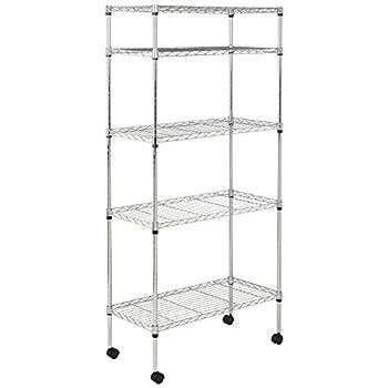 AmazonBasics 5-Shelf Shelving Unit on Wheels - Chrome