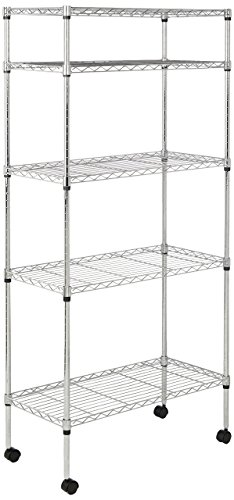 AmazonBasics 5-Shelf Shelving Unit on Wheels - Chrome