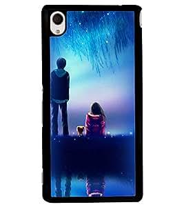 Printvisa A Girl And Boy With Blue Night Background Back Case Cover for Sony Xperia M4 Aqua::Sony Xperia M4 Aqua Dual