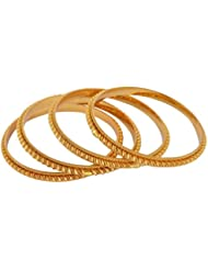 Jewelstone Gold Metal Bangle Set For Women - Set Of 4