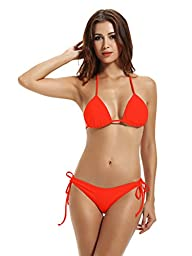 Zeraca Women's Tie Side Bottom Triangle Bikini Swimsuits