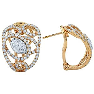 Diamond Omega Back Swirl Earrings In 18K Rose Gold