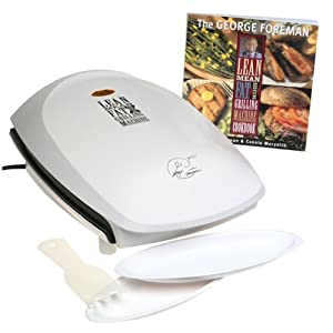 George Foreman GR26CB Family Size Plus Grill with Cookbook, White